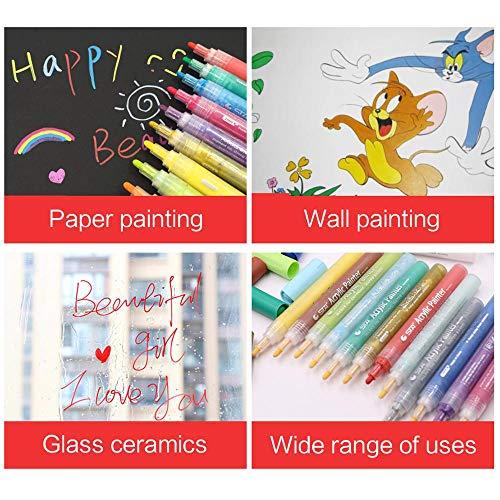 ACRYLIC PAINT MARKERS SET OF 12 Paint Pens markers for Glass permanent - Plastic - Rock Painting - Porcelain - Ceramic - Fabric - Enamel pen - Canvas - School craft - Paint supplies for artists Photo #4