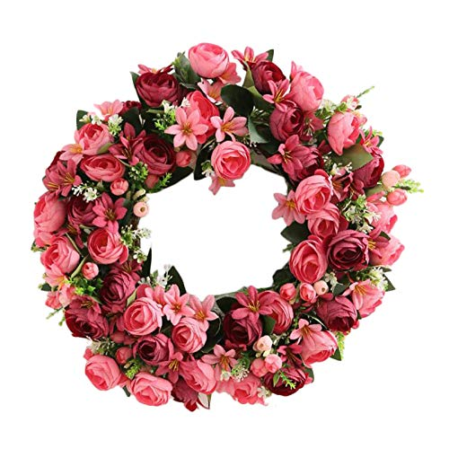æ— 20 Inch Artificial Pink Rose Wreath, Spring Flowers Wreath with Rose Lily and Green Leaf, Handmade Floral Wreath Garland for Front Door Indoor Outdoor Home Decor