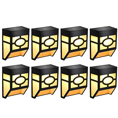 Greluna Solar Fence Lights,2 Modes Solar LED Outdoor Wall Lights for Deck, Fence, Patio, Front Door, Stair, Landscape,Yard and Driveway Path,Warm Amber/Color Changing,Pack of 8