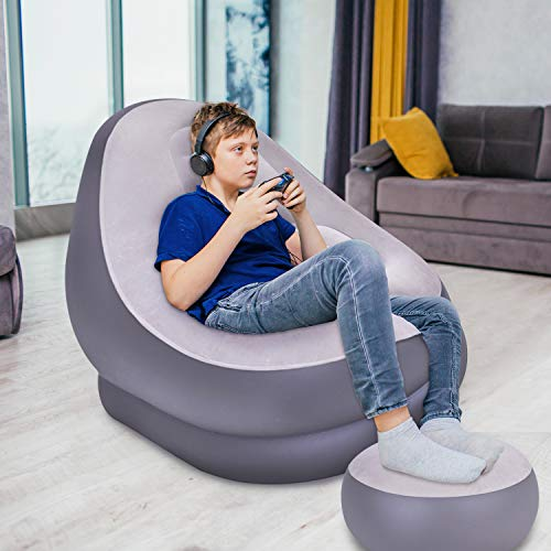 Avenli 88150 Inflatable 2-Piece Deluxe Lounger With Foot Stool / Perfect Chair For Gaming, Reading & Movie Watching / Lounger Size 116 x 98 x 83cm (L x W x H) With Foot Stool 55 x 29cm (W x H)