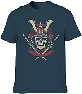 Camiseta para hombre de ajuste regular vintage Samurai Warrior Skull Cruzadas Katana Espadas Estampado Vintage Blusa