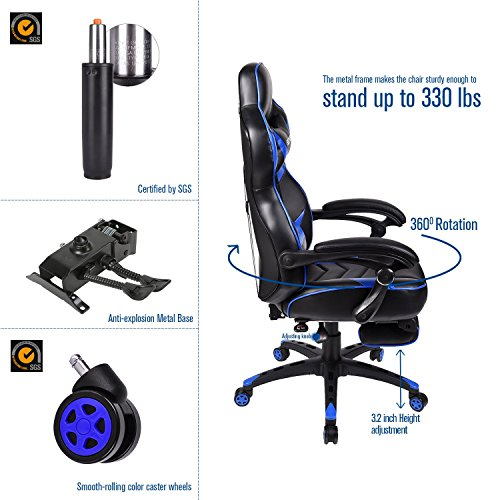 ELECWISH Ergonomic Computer Gaming Chair, PU Leather High Back Office Racing...