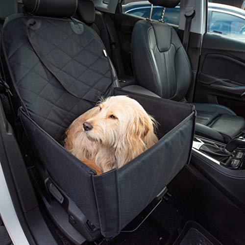 Hunde Autositz für kleine und mittelgroße Hunde + extra Sicherheitsgurt schnell verstaubar + wasserabweisend | Autositz Hund bis mittlere Hunde | Hundetransportbox, Hundesitz im Auto | Hundebox Auto