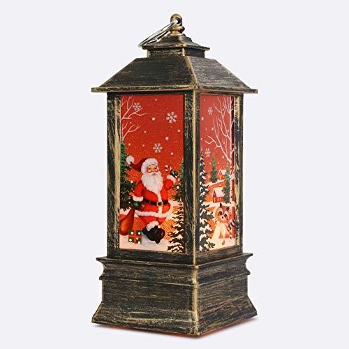 NIERBO LED Schneelaterne Santa Weihnachtliche Tischleuchte und hängen Laterne Lampe Weihnachtsdeko Weihnachtsmann Elch Licht für Innen, Zuhause