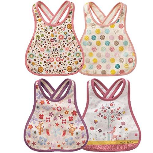 JT-Amigo 4pcs Baberos Impermeable para Niños Niñas, Rosa