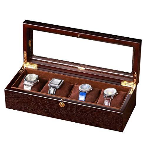 4-Slot Uhren-Aufbewahrungsbox mit Glasdeckel, Zubehör, Tablett aus Holz, Futter weich, außen mit 4 herausnehmbaren Kissen, Vitrine Organizer DCZKS