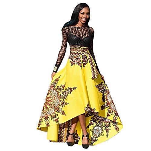 Zolimx Donne Africane Stampato Abito Lungo Estivo, Donne Gonna Irregolare Gonna Swing,Vestito Lungo Donna Abiti Da Cerimonia Donna Lunghi Eleganti