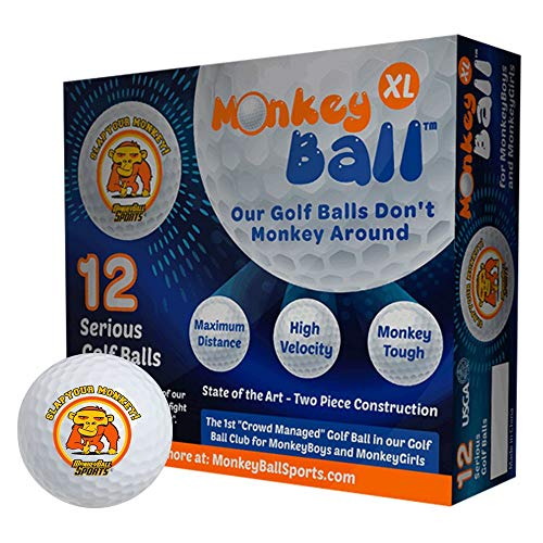 Slap Yo Monkey! | Gorilla Power & Golf Ball Speed | 12 Ultra USGA Soft Balls | Long Distance Softer Feel Straight Play for Your Favorite Vice | Bold Orange & White Funny Golf Balls for Men | Krank It