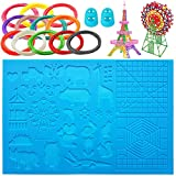 X Large 3D Pen Silicone Mat Set -16.4' X 10.9' Multi-Shaped 3D Pen Pad Silicone Basic Template, 12 Pcs 3D Pens Filament Different Colors and 2 Silicone Finger Protector for 3D Beginners/Kids/Adults