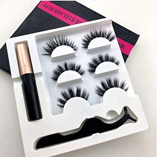 Faux cils magnétiques, faux cils 3D set 3 paires de faux cils et eye-liner imperméable (020)