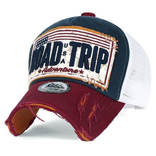 ililily Strasse Trip klassischer Stil abgenutztes Aussehen Snapback Trucker Cap Hut Baseball Cap, Navy