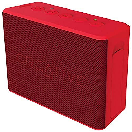 Creative MUVO 2c - Leistungsstarker, kompakter, wetterfester Wireless Bluetooth Lautsprecher (für Apple iOS/Android Smartphone, Tablet/MP3) rot
