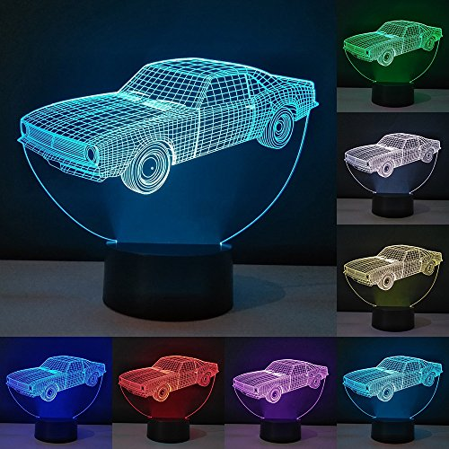 RUMOCOVO Old School Car 3D Illusion Night Light LED Table Desk Lamps 7 Colors Changing Touch Control USB Lighting Bedroom Home Decorative Birthday Christmas Gifts