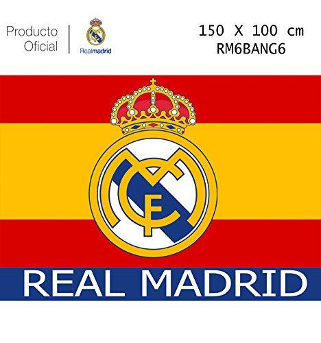 Flagge von Real Madrid Spanien - Produkt mit Lizenz - Messungen 150 x 100 cm. - Satin-Stoff