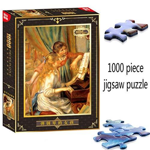 JXXU Mädchen am Klavier durch Pierre Auguste Renoir 1000 Stück Papier Adult Puzzle Spiele Lernspielzeug Kunst Wohnkultur
