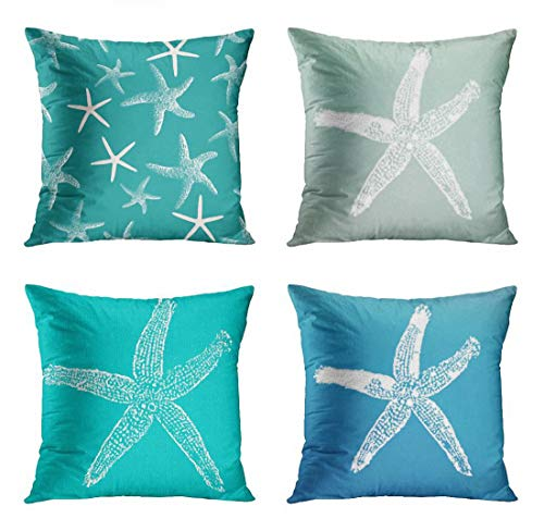 ArtSocket Set of 4 Throw Pillow Covers Blue Dotted Teal Starfish Pattern Green Sea Stars Tropical Ocean Decorative Pillow Cases Home Decor Square 18x18 Inches Pillowcases