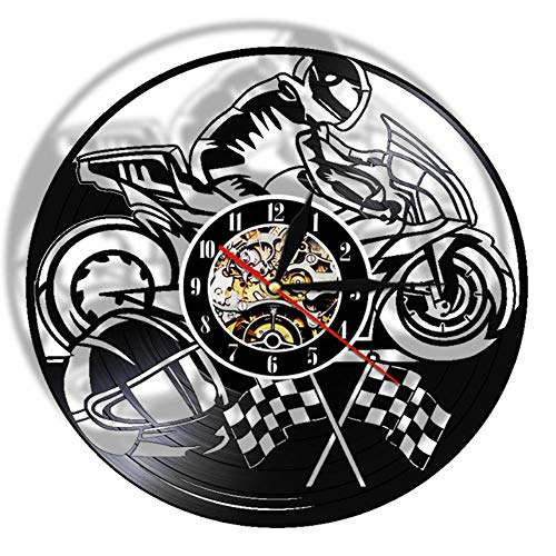 Gbrand Motocicleta Récord de Vinilo Reloj de Pared Moto Decorativo Reloj Motociclista Racer Racer Regalo Arte Casa Arte Moderno Muro Colgante Decoración-Sin LED