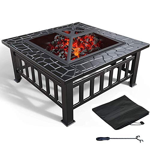 3 in 1 Outdoor Fire Pit Metal Square Table Fire Pit Fireplace Garden Heater BBQ/Ice with Waterproof Cover (Upgraded)