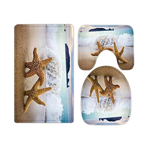 JONINOT W40cm x L60cm 3 Piezas Alfombra De Ducha Almohadilla Estrella de mar de la Playa Costera del océano Absorbentes Protector Antideslizante Impermeable Estera