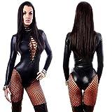 Digital baby Women Sexy Black Leather Lingerie Bodysuits Erotic Leotard Costumes Rubber Flexible