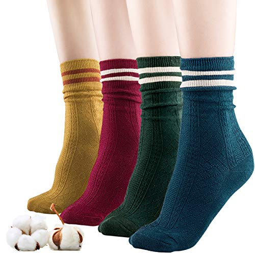 Sandiorsox Women Cotton Socks,Organic Cotton,Suitable for Different Color Shoes,4 Pairs