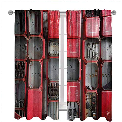 LCGGDB Industrial Blackout Window Curtains, Fuse Cabinet Close Up Photo Industrial Type Junction Cables Box Electricity Thermal Insulated Room Darkening Blackout Drapes for Bedroom,52'x 63',2 Panels,