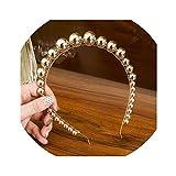Diadema de perlas de imitación Hotmoment-ukGold, para mujer, con perlas de imitación, para el pelo