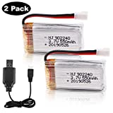 Crazepony-UK 2pcs 3.7V 550mAh 25C Lipo Battery XH2.54 Connector with USB Charger for...