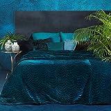 Eurofirany Eden - Colcha de Terciopelo Cama (170 x 210 cm), Color Turquesa Oscuro