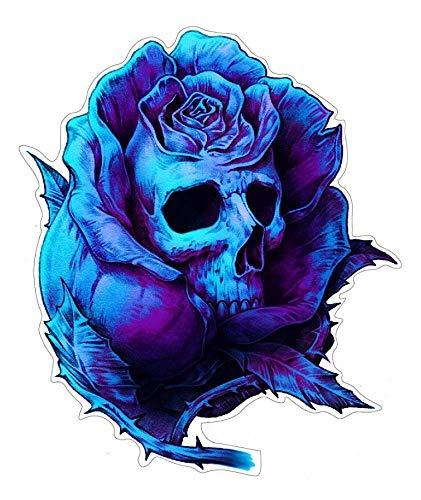 stickerdealer_chupacabra Rose Skull Aufkleber Sticker Schädel Totenkopf Blumen ca. 12x10 cm
