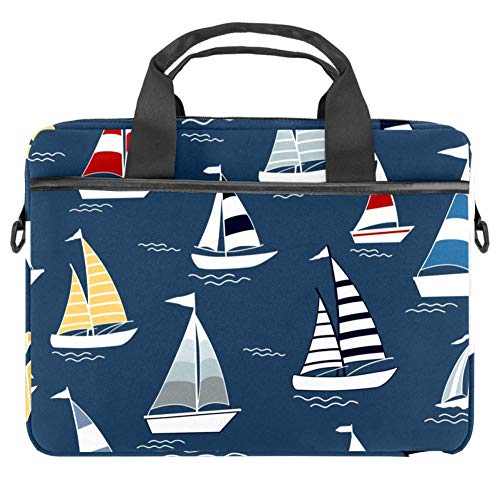 TIZORAX Laptop Bag Marine Boats On Sea Notebook Sleeve with Handle 15-15.4 inches Carrying Shoulder Bag Briefcase