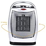 Oscillating Portable Ceramic Space Heater, Electric Heater with Thermostat Overheat Protection & Tip-Over Protection, 750/1500W Personal Heater with Carrying Handle, Silver + Black