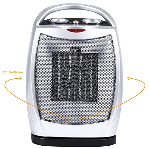 Oscillating Portable Ceramic Space Heater, Electric Heater with Thermostat Overheat Protection and Tip Over Protection, 750/1500W Personal Heater with Carrying Handle, Silver and Black