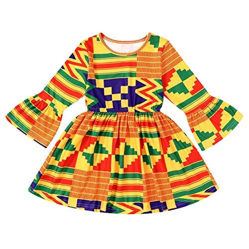 Conjunto de roupas de bebê africanas para meninas Dashiki Ankara YOUNGER Tree, One-piece Dress, 3-4T