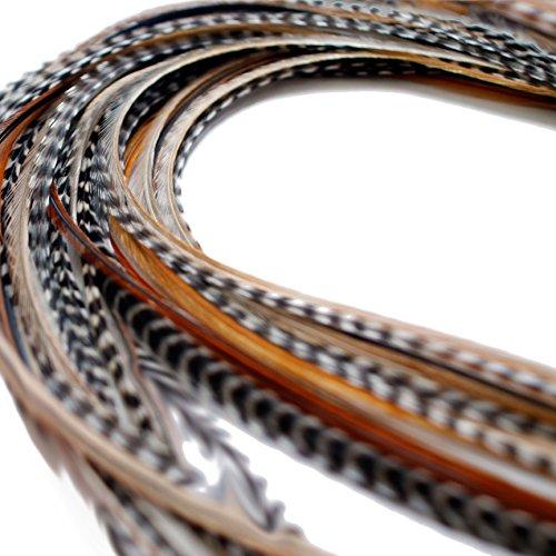 Lot de 10 Extensions de cheveux en plumes véritables XXL 28-33 cm + bagues et boucle