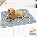 Niubya Washable Dog Pee Pads, Waterproof Reusable Puppy Pad, Super Absorbent Pet Pee Pads for Training, Travel, Whelping, 36' x 24' Waterproof Doggy Pee Pads, 4 Pack