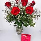 EL JARDÍ D´ESTHER-Ramo de 6 rosas rojas naturales y caja de bombones-Amor Dulce-FLORES FRESCAS-ENTREGA EN 24 HORAS DE LUNES A SABADO-FLORES NATURALES A DOMICILIO