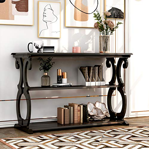 Wooden Console Table Sofa Table with Storage Open Shelves for Living Room Guest Room 3-tier Farmhouse Sideboard Entryway Desk Hallway Table for Home Entrance Office Dorm, Classic Carved Design (Black)