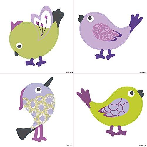 260504 Plakfolie voor tegels kleine vogels, polyvinyl, meerkleurig, 15 x 15 x 0,1 cm