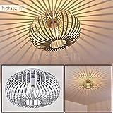 Lámpara de techo Lepa, gris metálico, 1 luz, casquillo de la bombilla E27, máx. 60 vatios, adecuada para LED. La pantalla de la lámpara crea un efecto luminoso en el techo.Estilo retro/vintage