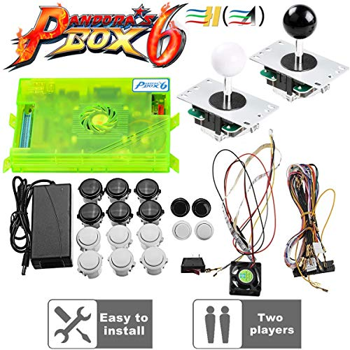 TAPDRA 3A Original Pandora's Box 6 Arcade Board Full DIY Kit, 1300 Retro Games with Buttons/joysticks/Harness Cable/Power, Support Add FBA MAME PS, HDMI VGA Output
