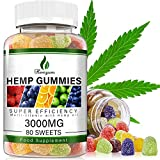 Hemp Gummies 3000MG Stress & Anxiety Relief - 80 SWEETS - Sleep, Calm & Mood Support Premium Natural Hemp Gummies Rich in Omega 3-6-9