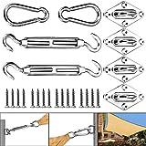 Huker Kit di Fissaggio Tenda a Vela 40 Pezzi Kit di Fissaggio e Installazione in Acciaio Inox per Tenda da Sole Rettangolare e Quadrata