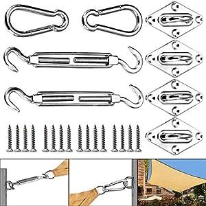 Huker Kit de Montaje para Toldo Acero Inoxidable Toldo Fijación Kit para Triángulo, Cuadrado, Rectángulo Toldo(40 Piezas)