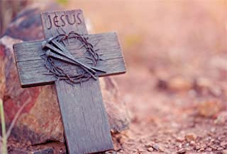 AOFOTO 5x3ft Jesus Wooden Cross Backdrop Religious Sacrifice Easter Crown Thorn Nails on Wood Crucifix Christian Church Photography Background Christ God Photo Studio Props Video Drapes Wallpaper