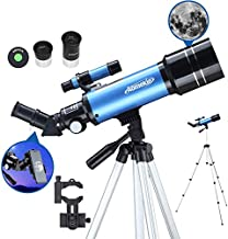 AOMEKIE Telescopes for Kids Adults and Astronomy Beginners 70/400 Telescope with Phone Adapter Tripod Finderscope Erect-Image Diagonal and Moon Filter