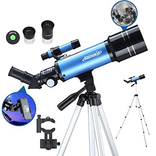 AOMEKIE Telescopio per Bambini Principianti Adulti 70mm Professionale Telescopio Rifrattore con Adattatore per Telefono 10X Zaino Regolabile con Filtro per Treppiede e Lente 3x Barlow