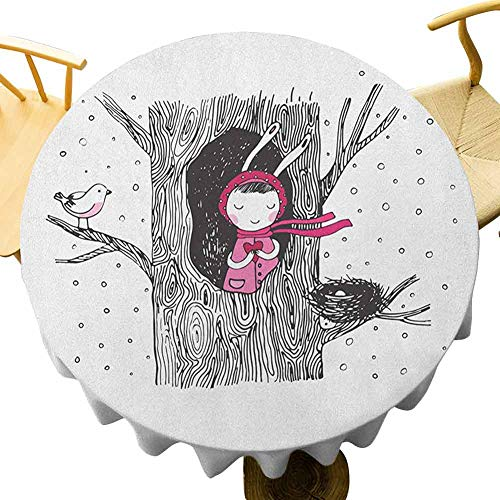 VICWOWONE Tree Tablecloth - 60 Inch Round table cloth Little in the Tree Hollow Holding a Heart Bird and Nest in Winter Snowfall As a gift Black White and Pink