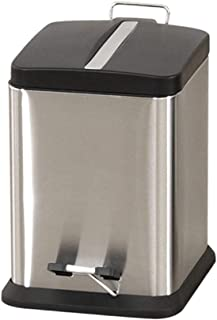 C-J-Xin Indoor Mute Trash Can, Creative Square Trash Can Pedal Type Trash Can with Lid Stainless Steel Metal Trash Can 6-3...