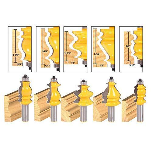 Fräser-Bit-Set, 1/4-Zoll-Schaft, rund, über erhöhte Platte, Schranktür, Ogee Schiene und Stile Oberfräser, Holzschneider, Holz Hartmetall, Nutfräs-Werkzeug, gelb